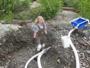Gold mining, high banker, digging, dirt, quartz creek